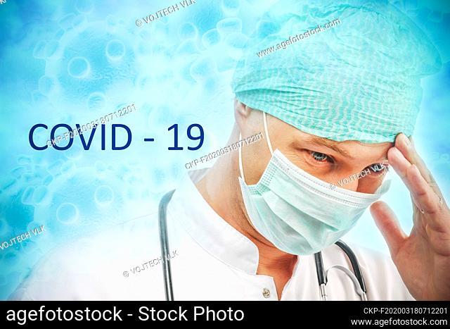Young doctor in cap amd mask having an headache, COVID - 19