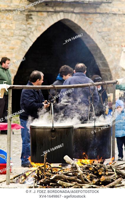 Traditional celebration 1st February sunday in Ainsa, Sobrarbe, Pyrenees  Aragon, Spain