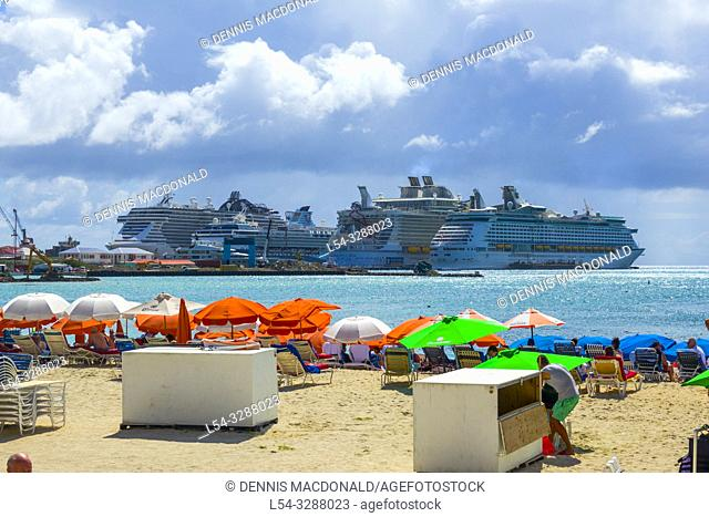 A cruise ship destination in the caribbean Philipsburg is the main town and capital of the country of Saint Sint Maarten