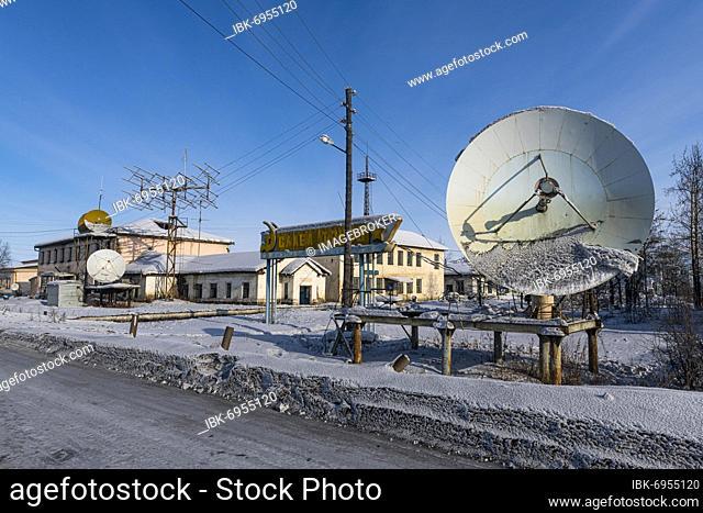 Old antenas in Artyk village, Road of Bones, Sakha Republic, Yakutia, Russia, Europe