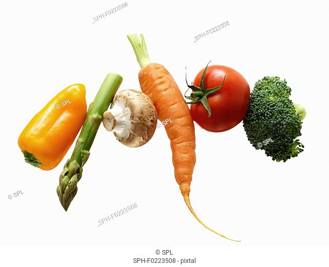 Fresh vegetables in a row