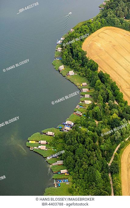 Aerial view, boathouses on Lake Krakow, Krakow Lakelands, Krakow am See, Mecklenburg Lake District, Mecklenburg-Western Pomerania, Germany