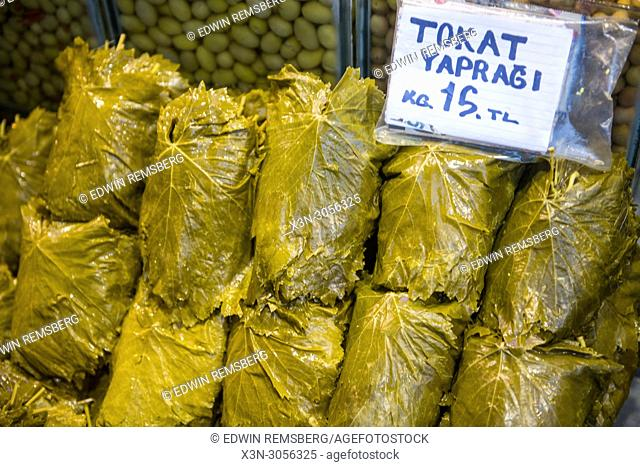Stuffed grape leaves on display and ready to be eaten at Istanbul Spice bazaar in Turkey