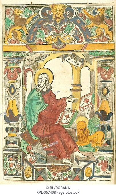 St John writing, Whole folio Engraved illustration of St John, seated with a book, and a lion beside him Image taken from Slavonic Gospels