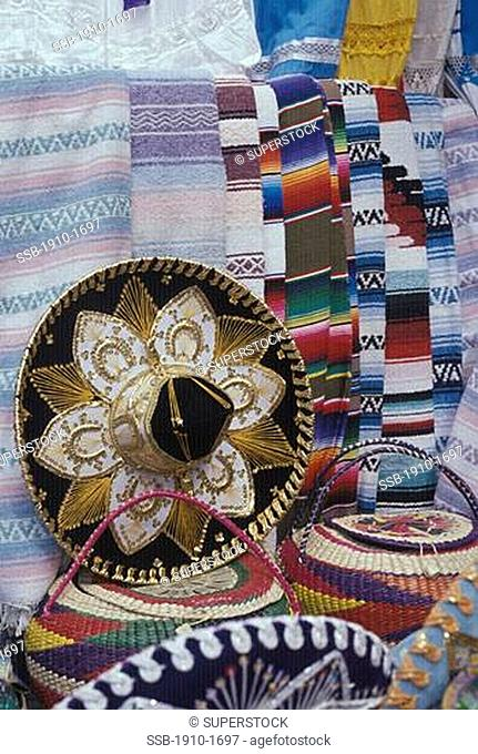 Mexican handicrafts on display for sale at outdoor market MEXICO