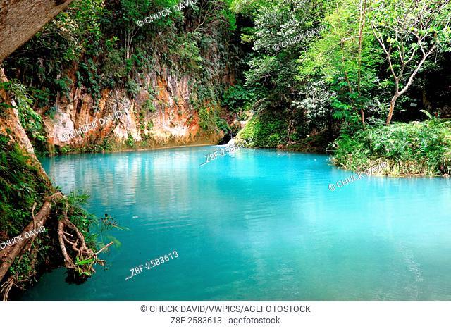 Bassin Palmiste, second in the Bassin Bleu chain of pools, Jacmel, Haiti
