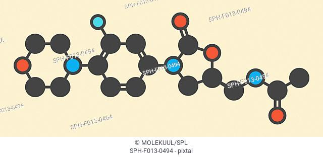 Linezolid antibiotic drug (oxazolidinone class) molecule. Stylized skeletal formula (chemical structure). Atoms are shown as color-coded circles: hydrogen...