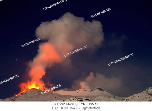Eruption of Mount Etna on the night of 8-9 February 2012 viewed from the Mareneve road above Fornazzo in Sicily
