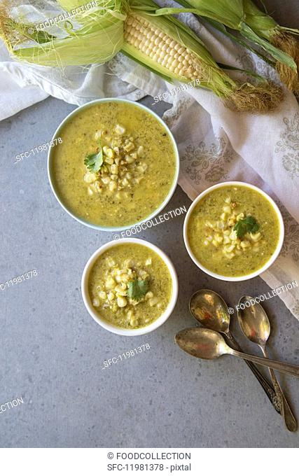 Sweetcorn soup with Poblano chillis