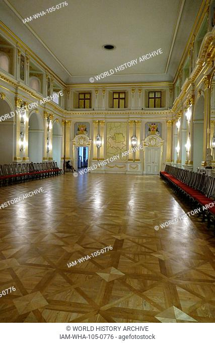 Sala Senatorska (The Senate Chamber) in the Old Royal Palace, Warsaw, Poland. It was here that the Upper House of the Polish Parliament used to sit in the years...