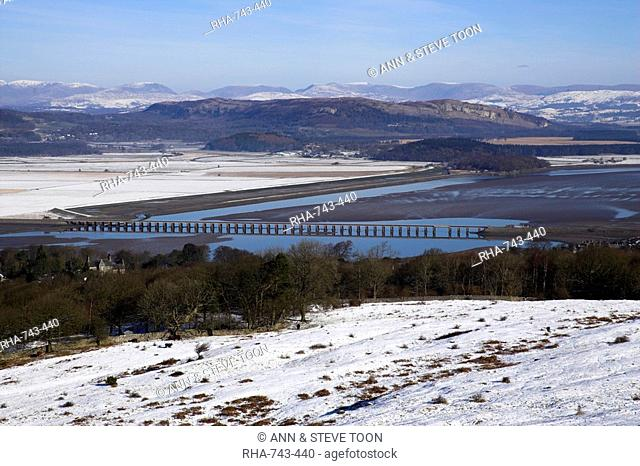View of Lakeland fells and Kent estuary from Arnside Knott in snow, Cumbria, England, United Kingdom, Europe