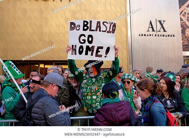 Mayor Deblasio marches in the 2016 St Patricks Day Parade Featuring: Atmosphere, Mayor Deblasio, Cardinal Dolan, Govenor Cuomo Where: Manhattan, New York