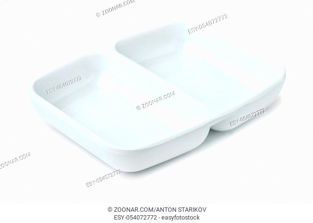 Porcelain twin sauce dipping dish isolated on white