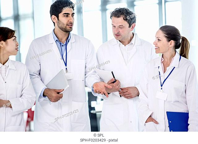 Medical colleagues in hospital building