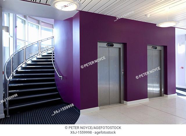 Entrance foyer and curved stair case and lift doors of the Eastpoint Centre, Southampton