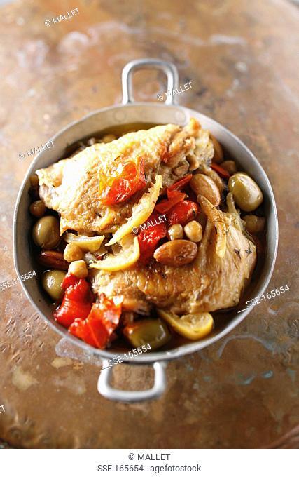 Chicken, confit citrus and olive casserole