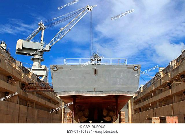The ship in the dry dock during the overhaul