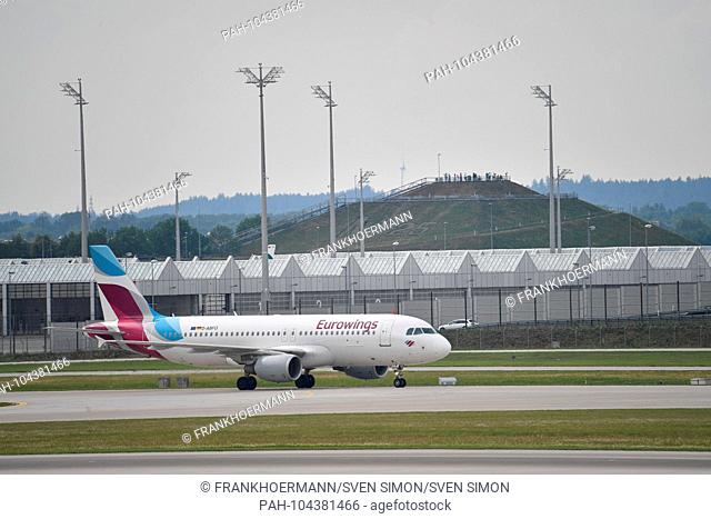 D-ABFO - Airbus A320-214 - Eurowings on the runway. Airline, airline, flyer, air traffic, fly.Aviation. Franz Josef Strauss Airport in Munich.Munich