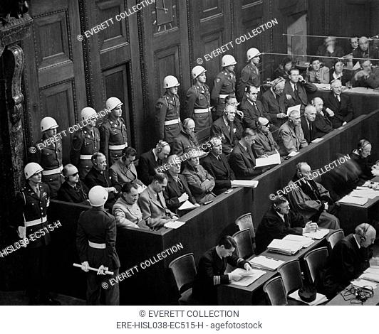 Former Nazi Germany's military and political leaders on trial at Nuremberg. They were prosecuted for waging aggressive war and crimes against humanity