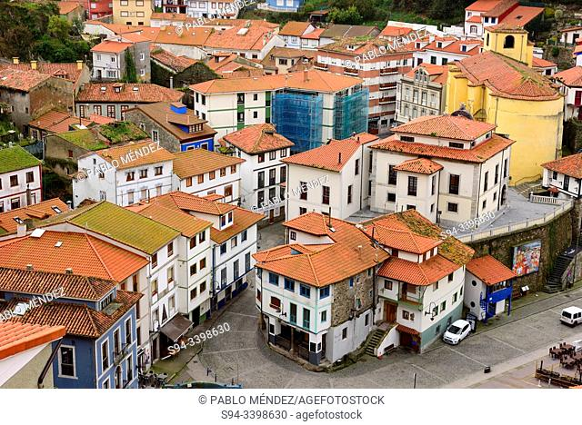 View of rooves and houses of Cudillero, Asturias, Spain