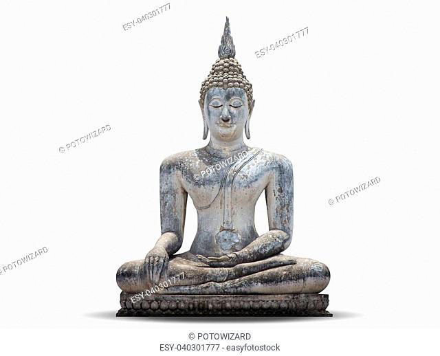 White Buddha, isolated against white background