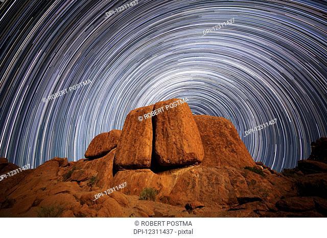 Star trails above a large boulder in Richtersveld National Park; South Africa