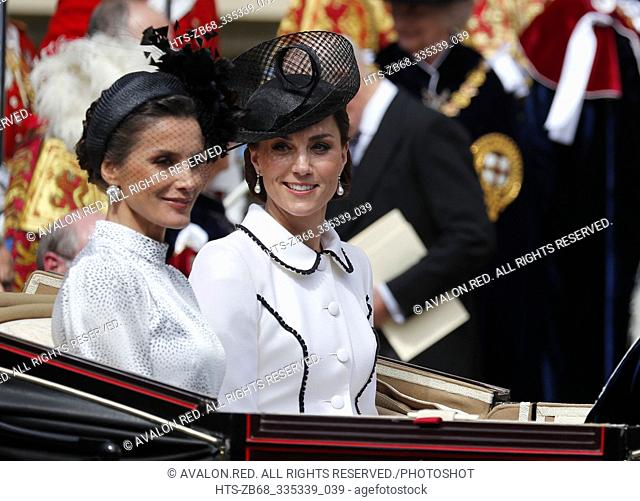 Spain's Queen Letizia and Britain's Kate, the Duchess of Cambridge leave the Order of The Garter Service at Windsor Castle in Windsor, Monday, June 17, 2019