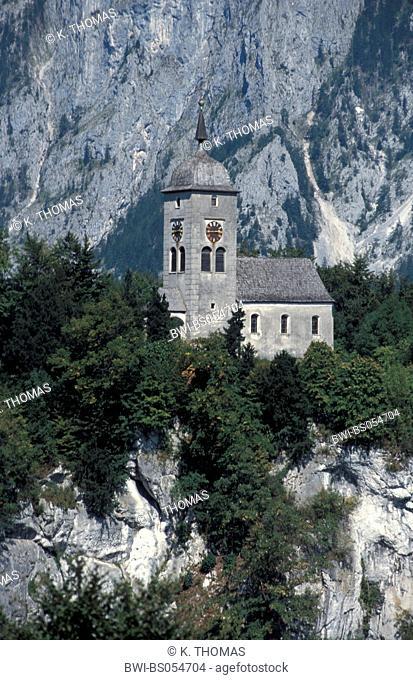 Traunstein with church, Austria, Upper Austria, Salzkammergut, Traunkirchen