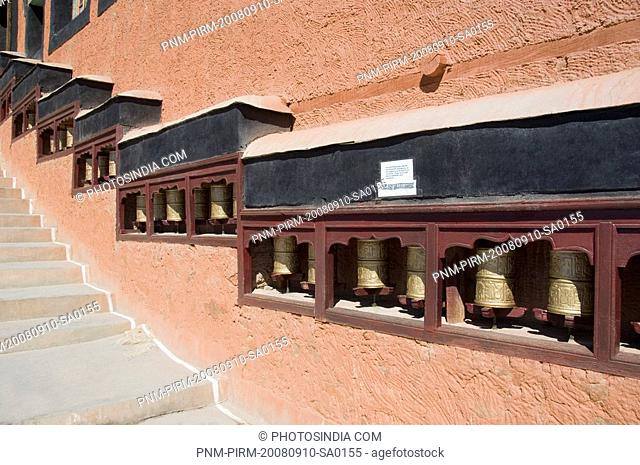 Prayer wheels in a monastery, Thiksey Monastery, Ladakh, Jammu and Kashmir, India
