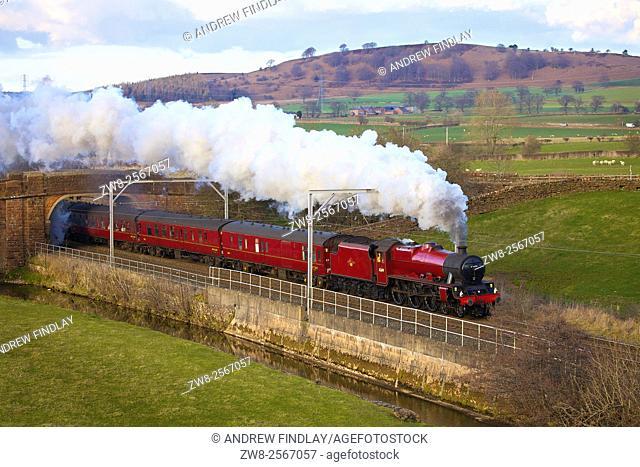 West Coast Main Line. Steam train. LMS Jubilee Class 45699 Galatea. Kitchenhill, Penrith, Cumbria, England, UK
