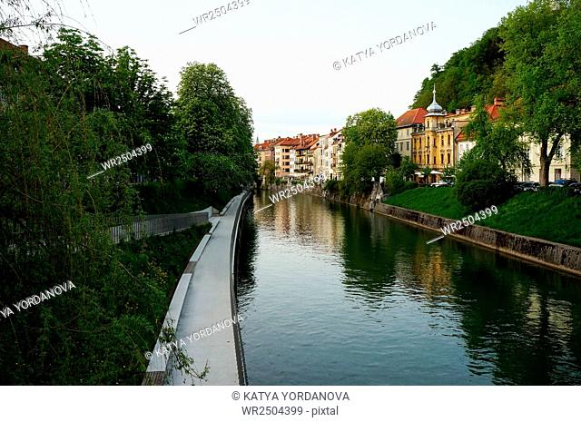 The old houses on the river bank early morning. Ljubljana, Slovenia