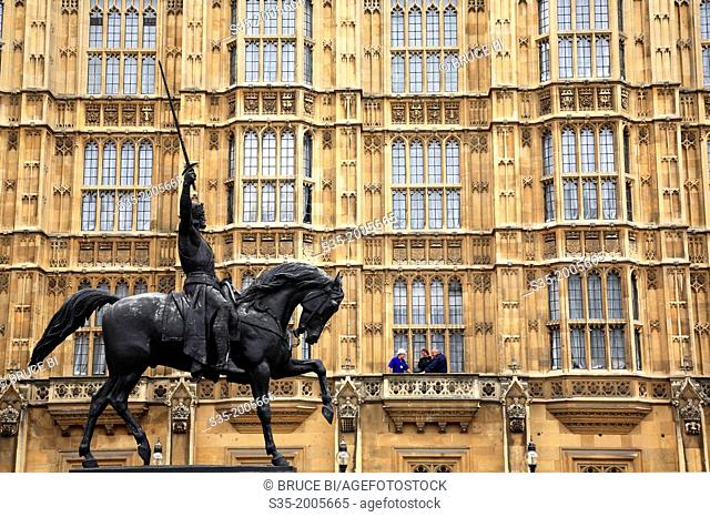 The bronze equestrian statue of Richard Coeur de Lion in Old Palace Yard of Palace of Westminster. London. England. United Kingdom