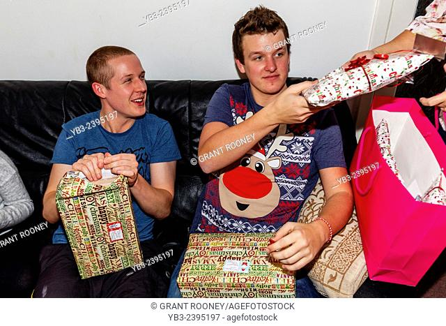 Young Men Opening Gifts On Christmas Day, Sussex, England