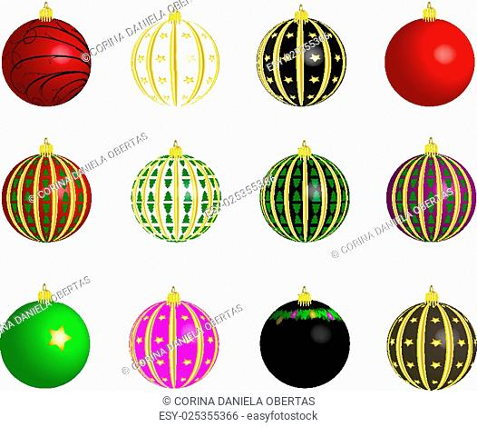 Set of vectors - Christmas balls on white background