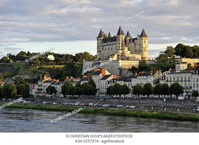 Loire River bank with the Chateau de Saumur in the background, Maine-et-Loire department, Pays de la Loire region, France, Europe