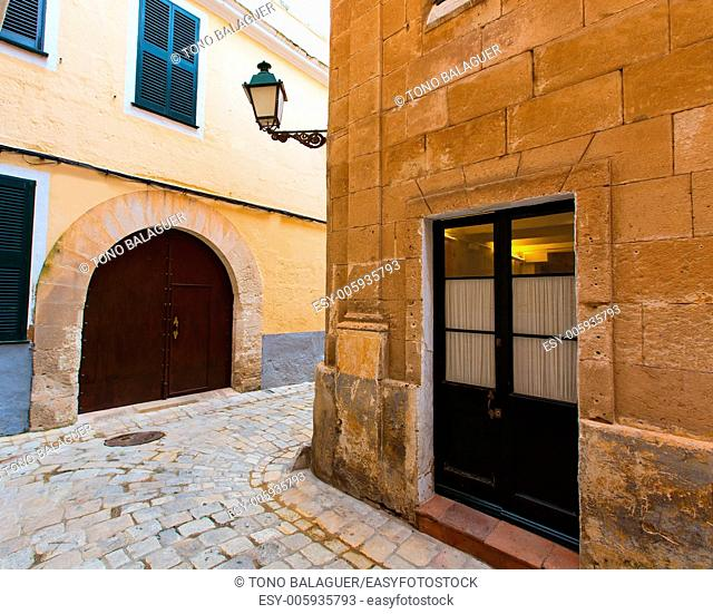 Menorca Ciutadella historical downtown at Balearic islands