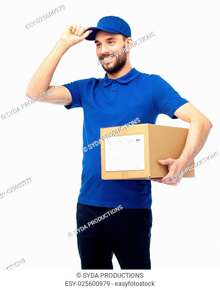 delivery service, mail, people, logistics and shipping concept - happy man with parcel box