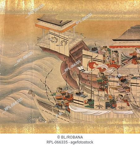 Japanese soldiers on ships, A Japanese tale of the Muromachi period c.1390-1570 describing the exploits of a warrior hero named Yuriwaka