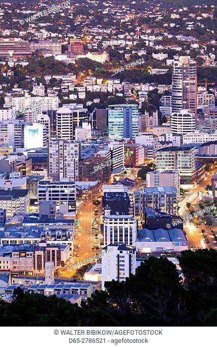 New Zealand, North Island, Wellington, elevated city skyline from Mt. Victoria, dawn