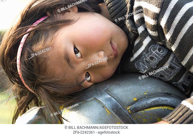Kathmandu Nepal Nepali child posing for camera. Nayapati Eastern Kathmandu 1