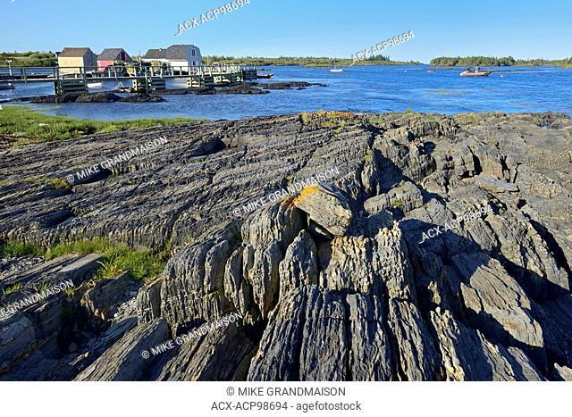 Rocky coastline of Lunenburg Bay (Atlantic Ocean) Blue Rocks Nova Scotia Canada