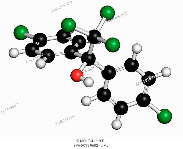 Dicofol organochlorine pesticide, molecular model. Atoms are represented as spheres with conventional colour coding: hydrogen (white), carbon (black)
