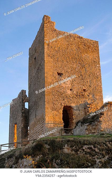 Calatanazor castle detail at dusk, Calatanazor, Soria, Castilla y Leon, Spain