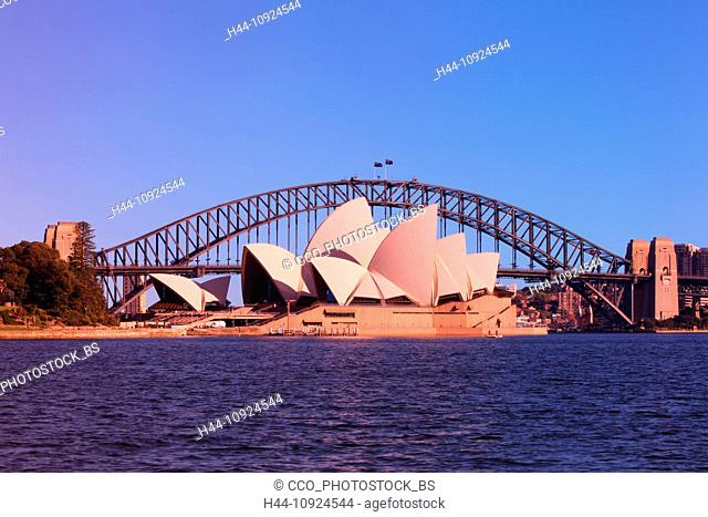 Sydney opuses House, Harbour bridge, Royal Botanical Gardens, opera, opera-house, bridge, botanical garden, harbour, port, water, blue sky, morning, sun