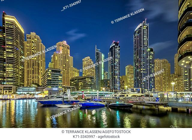 A night view of the marina in Dubai, UAE, Middle East
