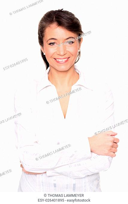 studio shot of a woman with white blouse mid against white background