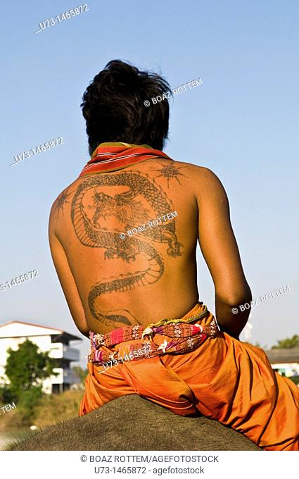 A Thai man from Isan wearing a big and colorful tattoo on his back