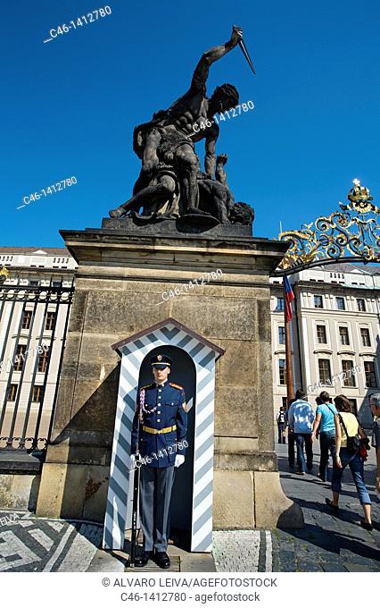 Guard, front gate hradcany castle  Prague  Czech Republic