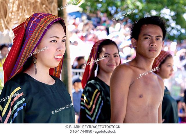 Filipinas wearing Baroo at saya traditional dress at the Battle of Mactan reenactment or Kadaugan Festival  The Battle of Mactan was fought in the Philippines...