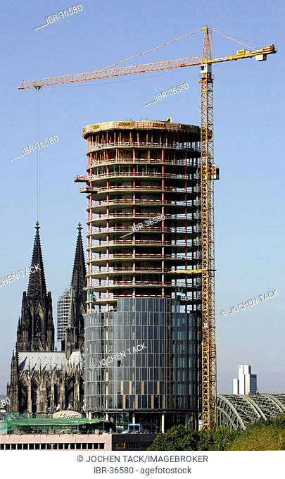 Construction of a high-rise building near Cologne Cathedral, Deutz, Cologne, North Rhine-Westphalia, Germany